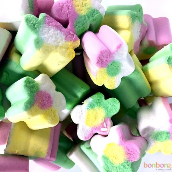 Guimauve Fini - bonbons tendres en forme de fleur au couleurs pastels