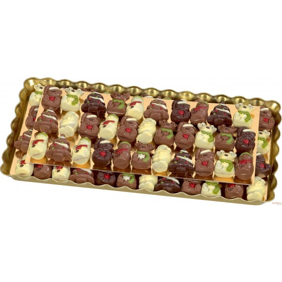 Plateau de 18 sujets de Noël en chocolat colorés - 270g
