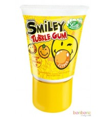 Tubble Gum Smiley - bonbons Lutti, tube de chewing gum au citron