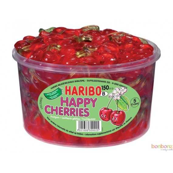Bonbons Haribo en boîte refemable -  Cerise Happy Cherries 1,2 kg