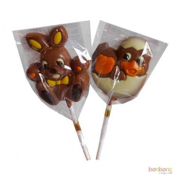 Sucette en chocolat Lapin et Poussin en oeuf