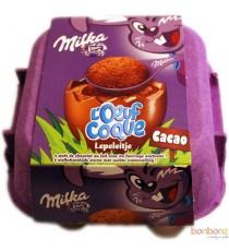 Milka - Loeuf Coque Cacao - 4 oeufs au chocolat au lait fourrés