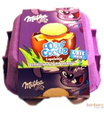 Milka - L'œuf Coque Lait - 4 œufs au chocolat au lait fourrés
